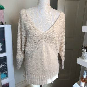 Anthro Sparrow Cream Loose Knit V-Neck Sweater